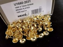 1000 BRASS ON STEEL UPHOLSTERY NAILS - FURNITURE STUDS